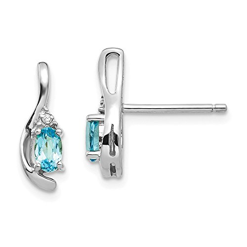 - 14k White Gold Blue Topaz Diamond Post Stud Earrings Set Drop Dangle Birthstone December Fine Jewelry Gifts For Women For Her