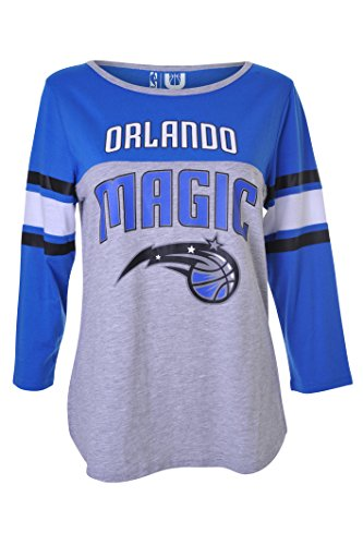 fan products of NBA Women's Orlando Magic T-Shirt Ragan Baseball 3/4 Long Sleeve Tee Shirt, X-Large, Blue