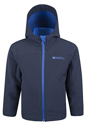 Blue Lined Jacket - Mountain Warehouse Exodus Kids Softshell Jacket - Cool Childrens Coat Navy 7-8 years