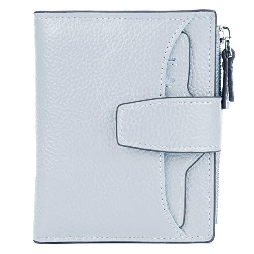 - AINIMOER Women's RFID Blocking Leather Small Compact Bi-fold Zipper Pocket Wallet Card Case Purse (Lichee Grayish White)