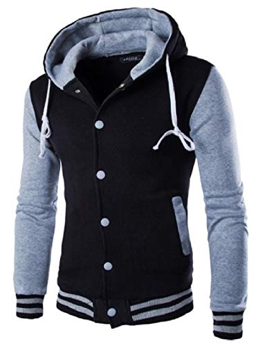 Grey Button Coat Color Up Jacket Men's Military Leisure Contrast Energy Hoodie Jacket xOwfFPnq