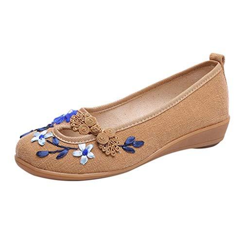 Planos Loafer Khaki Estilo Para Zapatos Lona Bordado Mediana Mocasines De Mujer Edad Étnico SfwRqxvd
