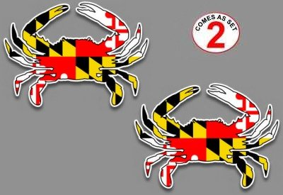 "Maryland flag blue crab decal sticker 5"" x 7"" set of 2 for car truck suv window glass"
