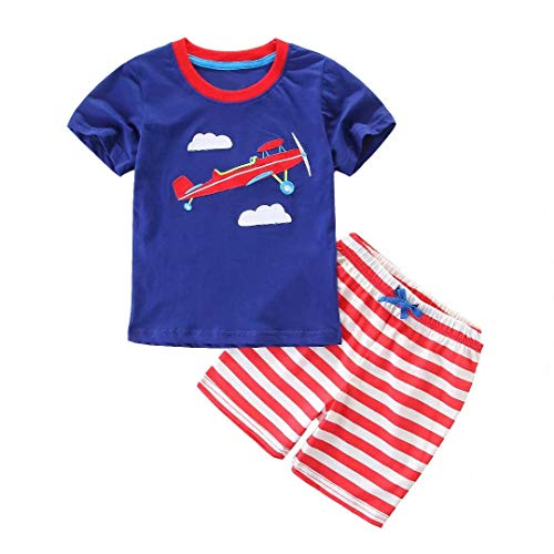 Jobakids Little Boys' Short Set Summer Clothing Sets Cotton Shirts Short Sleeve Tee n Pants(Airplane,2T)