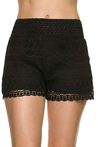 Bellarize Women's Crochet Shorts with Wavy Edge and Inner Lining Black Medium (Black Lace Shorts)