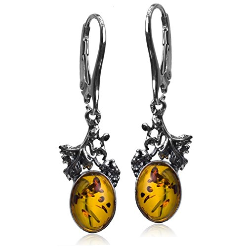 Honey Amber Sterling Silver Classic Grape Leverback Earrings