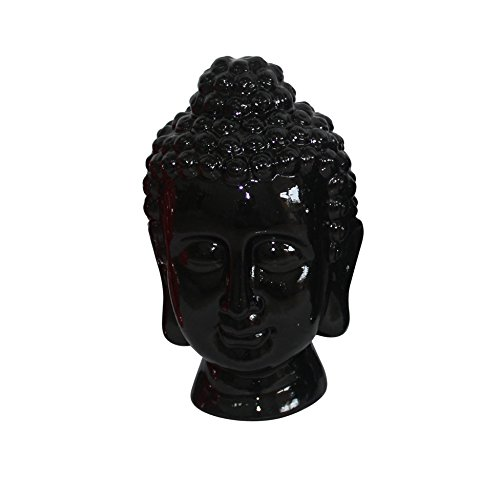Buddha Ceramic Statue Head (Homea 5dej1342nr Design 20 x 20 x 31 cm Black Ceramic Buddha Head Statue)