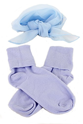 [Light Blue Bobby Socks & Sheer Scarf - Retro 50s Accessory Set] (Dance Costumes For Praise And Worship)