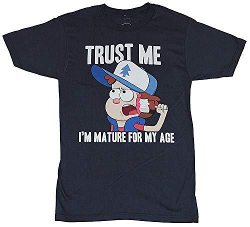 Zomsun Gravity Falls Mens T-Shirt - Dipper Trust Me I'm Mature for My Age SLD Backgrnd Inspired Custom Gift Navy]()