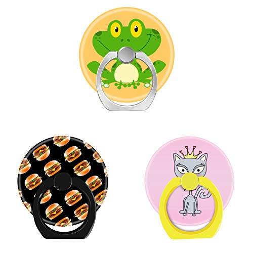 (Bsxeos 360°Rotation Cell Phone Ring Holder with Car Mount Work for All Smartphones and Tablets-Cheeseburger-Cute Whimsical Princess Kitty cat-Frog Amphibian Green Cute Cartoon Animal(3 Pack))