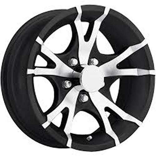 "NEW 13"" ALUMINUM TRAILER WHEEL WITH BLACK AND MACHINED 10 SPOKE 13X5 5X4.50 T07-35545BM"