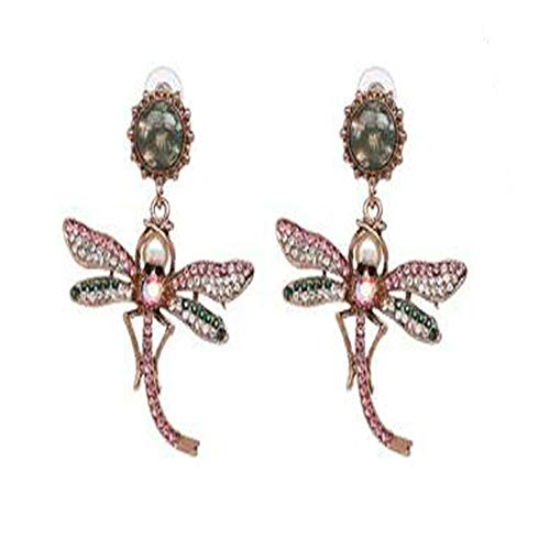 DENGDAI Tassel Earrings for Women,Ladies Fashion Personality Creative Earrings Alloy Dazzling Color Diamond Dragonfly Earrings ()