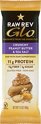 Raw Rev Glo Protein Bars Crunchy Peanut Butter & Sea Salt, 1.6 Ounce - Crunchy Protein Bar
