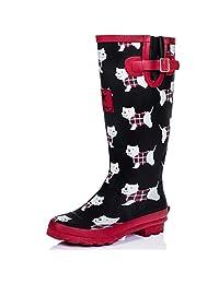 SPYLOVEBUY IGLOO Women's Adjustable Buckle Flat Welly Rain Boots