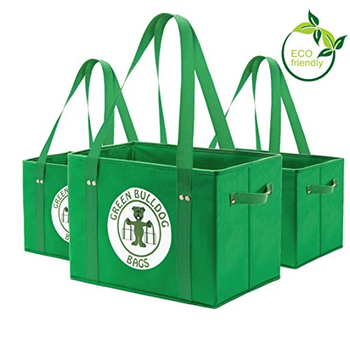 Green BD's Reusable Grocery Bags. Large, Heavy Duty and Spillover Proof. Eco-Friendly Collapsible Shopping Box Bags with Fold Up Reinforced Bottom. (Green Set of 3)