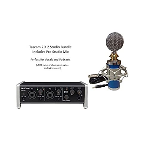 Tascam US-2x2 2-in/2-out Audio/MIDI Interface with Pro Studio Microphone, Cable, Windscreen & Shock Mount Bundle