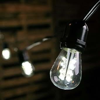 commercial led edison string lights 100 foot black wire cool white. Black Bedroom Furniture Sets. Home Design Ideas