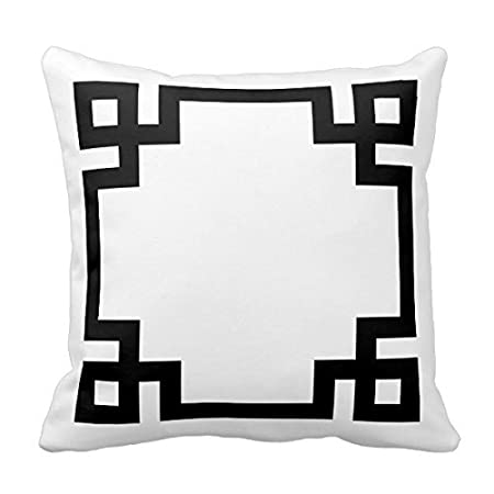 Decors Black And White Greek Key Border Throw Pillow Case Cushion Cover Home Sofa Decorative 18 X 18 Pillows