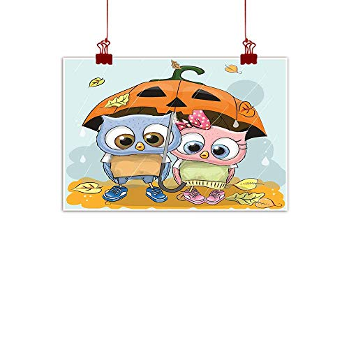Mannwarehouse Modern Oil Paintings Halloween Card Two Cute Cartoon Owls Canvas Wall Art 24
