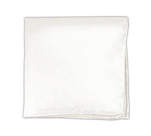 100% Silk Woven White Solid Twill Pocket Square