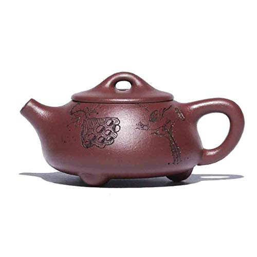 Tea Cozies Zisha Pot Pure Hand-Painted Mini teapot Original ore Pot Pottery kung fu teapot Set Non-Ceramic Original Mine Dahongpao Squirrel Pot (Color : Brown, Size : 10X4CM) -