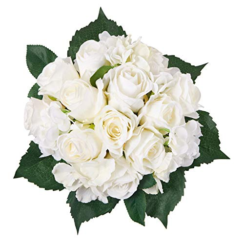 Yoomarket Artificial Flowers 6 White Roses and Hydrangea Silk Flowers Bouquet Real Looking Babys Breath Fake Flowers Wedding Bouquets Centerpieces Arrangements Party Home Decorations (Rose Bouquet Hydrangea)