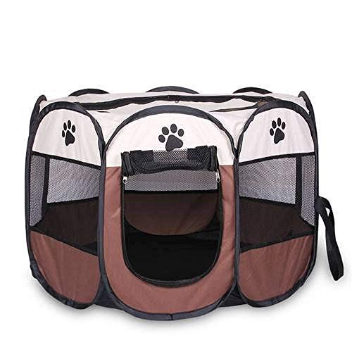 RUIMA Portable Foldable Pet Playpen + Carrying Case & Collapsible Travel Bowl | Indoor/Outdoor use | Water Resistant | Removable Shade Cover | Dogs/Cats/Rabbit | (Color : White)