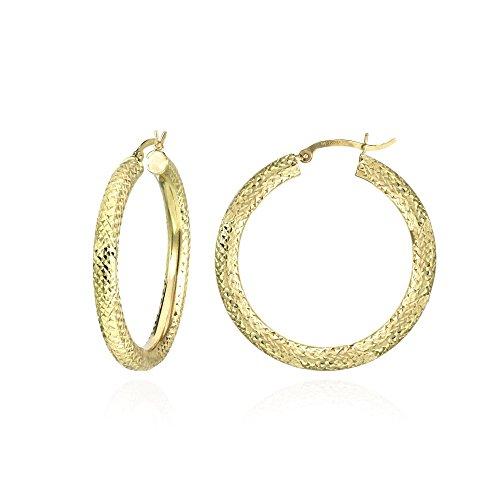 14K Gold Diamond-cut 4x38mm Lightweight Medium Round Hoop Earrings by Hoops & Loops