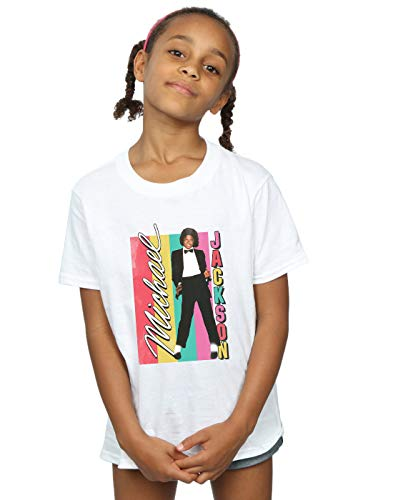 Michael Jackson Girls Colour Stripes T-Shirt White 9-11 Years