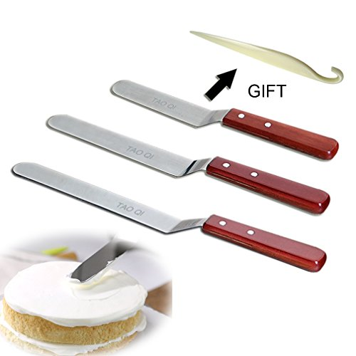 Icing Spatula Angled, Offset Cake Spatula Set with Wooden Handle, 6-Inch, 8-Inch, 10-Inch, Professional Stainless Steel Cake Decorating Tools by TAOQI Cake Stripping Tool (Angled Icing Spatula)