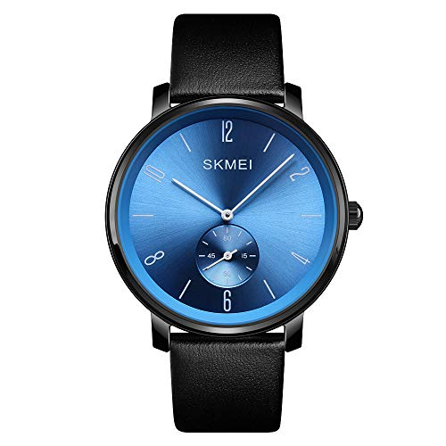 Men's Quartz Watch Ultra-Thin Fashion Business Blue dial Analog Wrist Watches Black Leather Band(Blue) ()