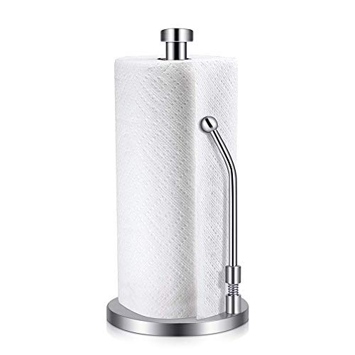(Double2C Paper Towel Holder Heavy Duty Stainless Steel Good Grips Standing Simply Tear Roll Contemporary Tissue Holder Kitchen Paper Towel Dispenser Countertop with Weighted Base for Garbage Bags)