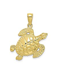10k Yellow Gold Turtle Pendant Charm Necklace Sea Life Fine Jewelry Gifts For Women For Her