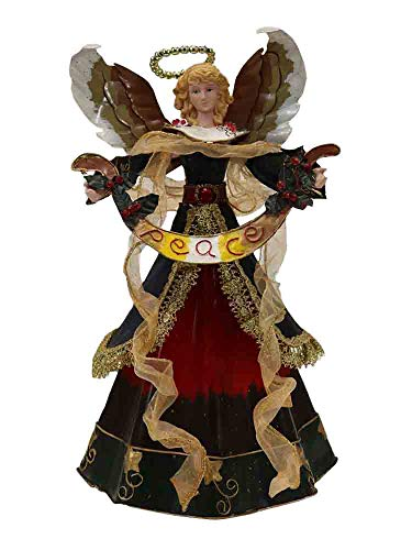 Tree Topper Tin Angel with Peace Sign [2468]