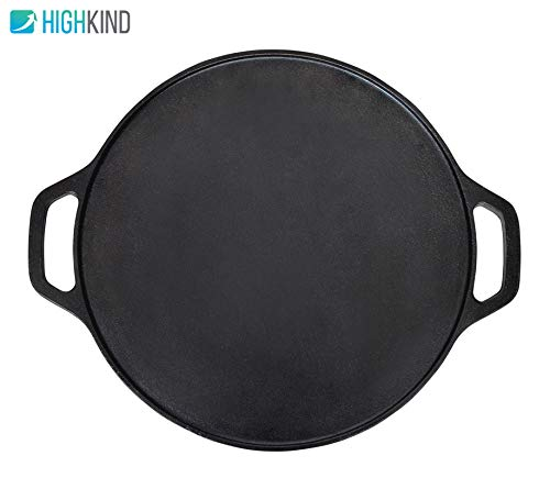 Highkind Cast Iron Dosa Tawa 12 inch Pre-Seasoned, Perfect for Cooking on Gas, Induction and Electric Cooktops – Black Price & Reviews