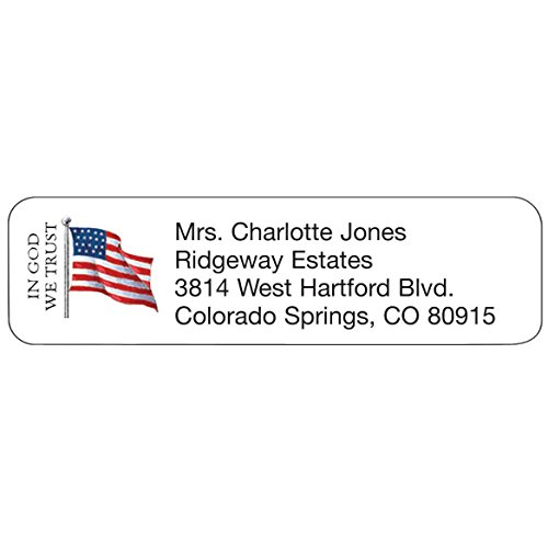 Personalized Design Address Labels-in God We Trust-Includes a Set of 200 Self-Stick Sheeted Labels Sized at 2 ¼ in. Long x 5/8 in. Wide - Patriotic Address Labels