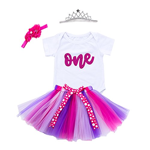 Baby Girls 1st Birthday Bling One Romper Tutu Skirt Flower Crown Headband (Purple, 12-18Months)