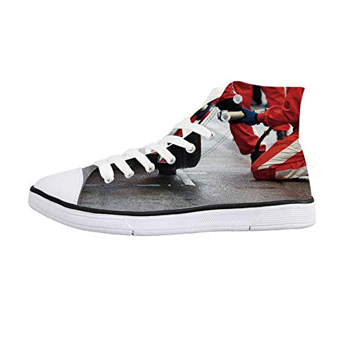 ALUONI Man Cave Decor Comfortable High Top Canvas Shoes,Professional Racing Team at Work Pit Stop Racecar Fast Tyre Changing Image for Women Girls,US -