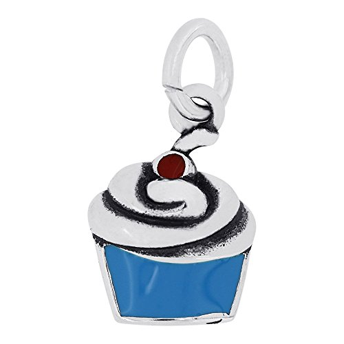 Elegance Cherry (Sterling Silver Enamel Blue Cupcake with Red Cherry Charm Pendant (10 x 8 mm))