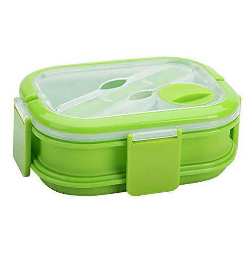 Mikash Silicone Lunch Box Double-Layer Folding Food Storage Container Microwave Student | Model FDCNTNR - 120 ()