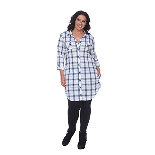 White Mark 'Piper' Button-Front Plaid Dress Shirt in Blue & White - 3X ()
