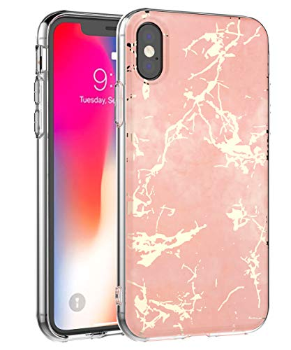 iPhone XS Max Case,iPhone XS Plus Case,Spevert Marble Pattern Hybrid Hard Back Soft TPU Raised Edge Slim Cover Protective Case Compatible iPhone XS Max/XS Plus 6.5 inches 2018 - Rose Gold