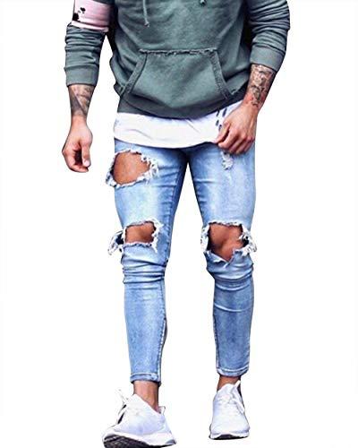 Slim Jeans Denim Fit Uomo Pantaloni Hellblau Taglie Condividi Distrutto Stile Da Retro Comode Abiti xIqawwnUZd