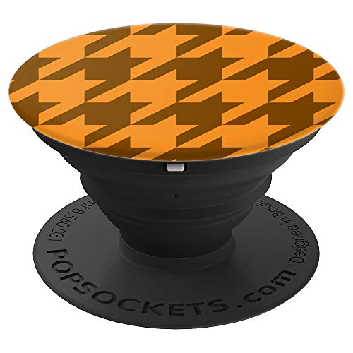 Orange Hounds (Houndstooth Brown And Orange Hounds Tooth Check - PopSockets Grip and Stand for Phones and Tablets)