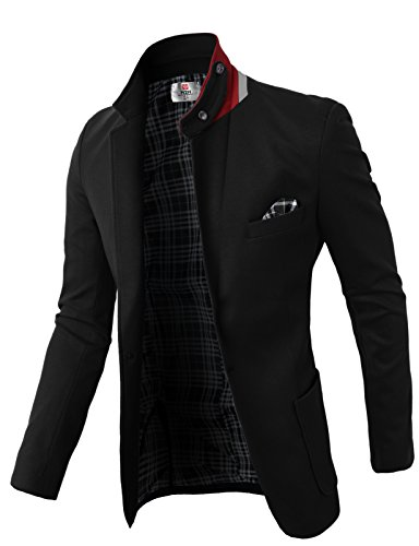 H2H Men's Casual Western-Style Lightweight Slim Two-Buttons Cotton Suit Blazers Jacket Black US 2XL/Asia 4XL (KMOBL01) ()