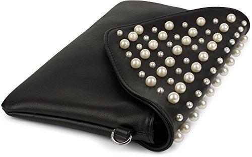 02012217 femmes petites styleBREAKER perles avec et Noir de enveloppe clair Pochette pochette soirée grandes Bleu couleur tPqwPv