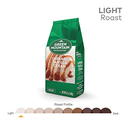 Green Mountain Coffee Roasters, Caramel Vanilla Cream, 12 oz. Ground Bag, Light Roast Coffee, (6) Bags
