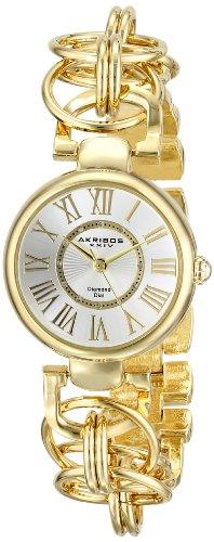 Akribos XXIV Women's AK679YG Lady Diamond Gold-Tone Watch with Chain-Link Bracelet