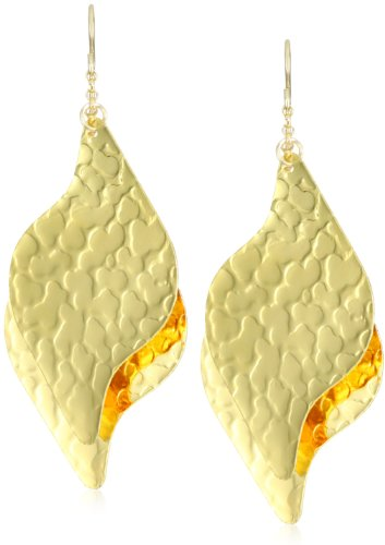 """Devon Leigh """"Bold Gold"""" 18k Gold-Dipped Double Leaf Drop ..."""
