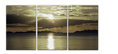 (Sanbay Art Modern Giclee Canvas Prints Stretched Abstract Sunset Seascape Paintings Wood Framed Inside Wall Art for Home Office Decorations Wall Decor 3pcs/set)